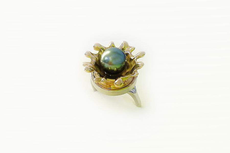 "anello ""splash"" oro rosa e bianco perla tahiti"