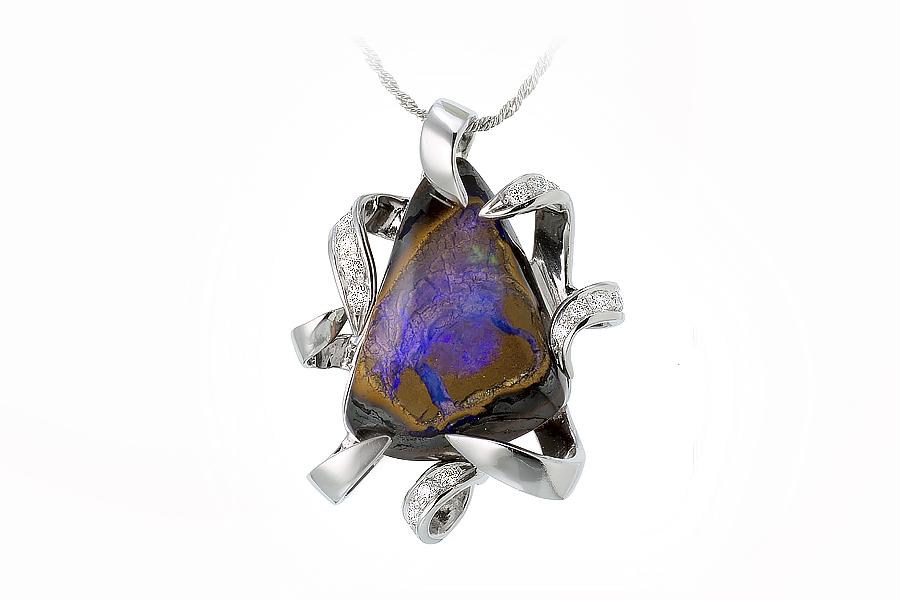 pendente opale boulder oro bianco e diamanti
