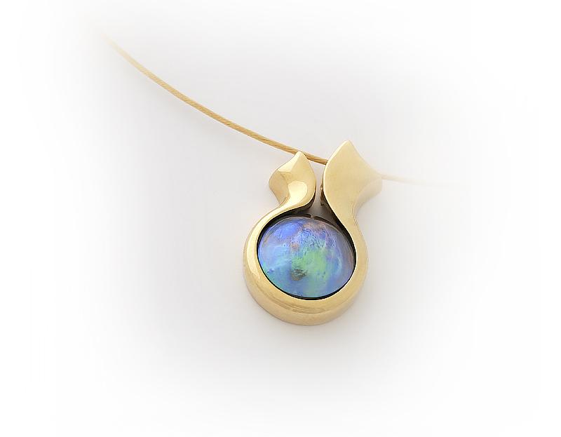 pendente oro giallo perla blu Nuova Zelanda